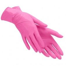 Перчатки нитриловые розовые неопудренные размер S