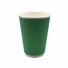 Стакан бумажный гофр. трехслойный зеленый 250 мл