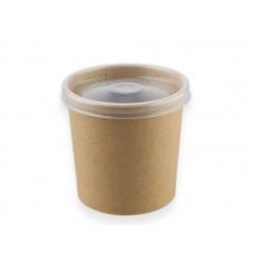 Контейнер бумажный крафт 445 мл для супа с пластик.крышкой
