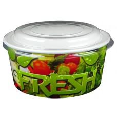 """Контейнер бумажный """"Fresh"""" 750мл с купольной крышкой"""