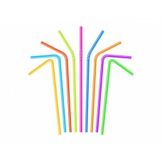 Трубочки для напитков с изгибом d=5мм L=240мм цветные 250шт/уп