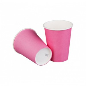 Стакан бумажный однослойный розовый 250 мл