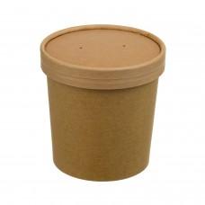 Контейнер бумажный крафт 445 мл для супа с картон.крышкой