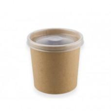 Контейнер бумажный крафт 340 мл для супа с пластик.крышкой