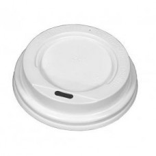 Крышка белая для бумажного стакана без носика 250мл, d= 80мм