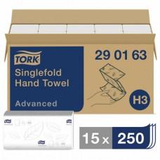 Полотенце листовое Tork Singlefold  Advanced H3 2сл. ZZ-слож. 250л/уп