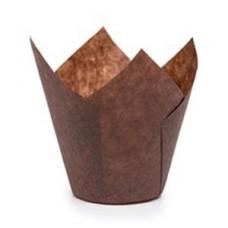Розетка бумажная коричневая для пирожных тюльпан h=80мм d=50мм