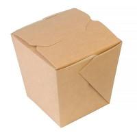 Упаковка квадратная под лапшу крафт ламин. 450 мл