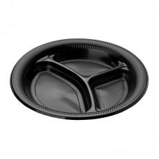 Тарелка черная ПП 3-секц. d=260мм