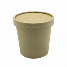 Контейнер бумажный 340 мл для супа d=70мм h=85мм с крышкой