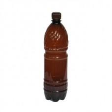 Бутылка ПЭТ 1 л  коричневая 28мм с черной пробкой